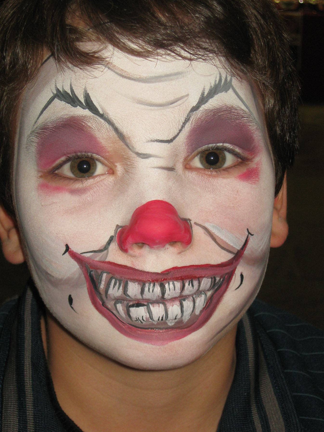 scary clown halloween face paint
